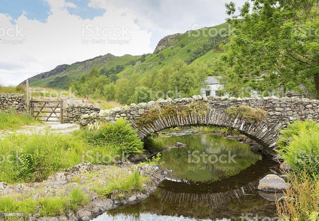 Packhorse bridge Watendlath Tarn Lake District Cumbria England summer day stock photo
