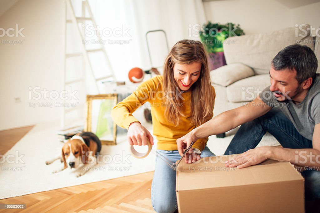 Packing and moving stock photo