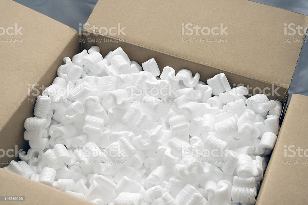 Packing cardboard box full of product protector royalty-free stock photo