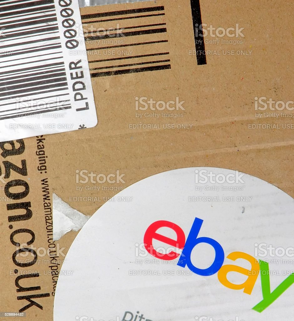 Packing detail of a purchase in ebay. stock photo