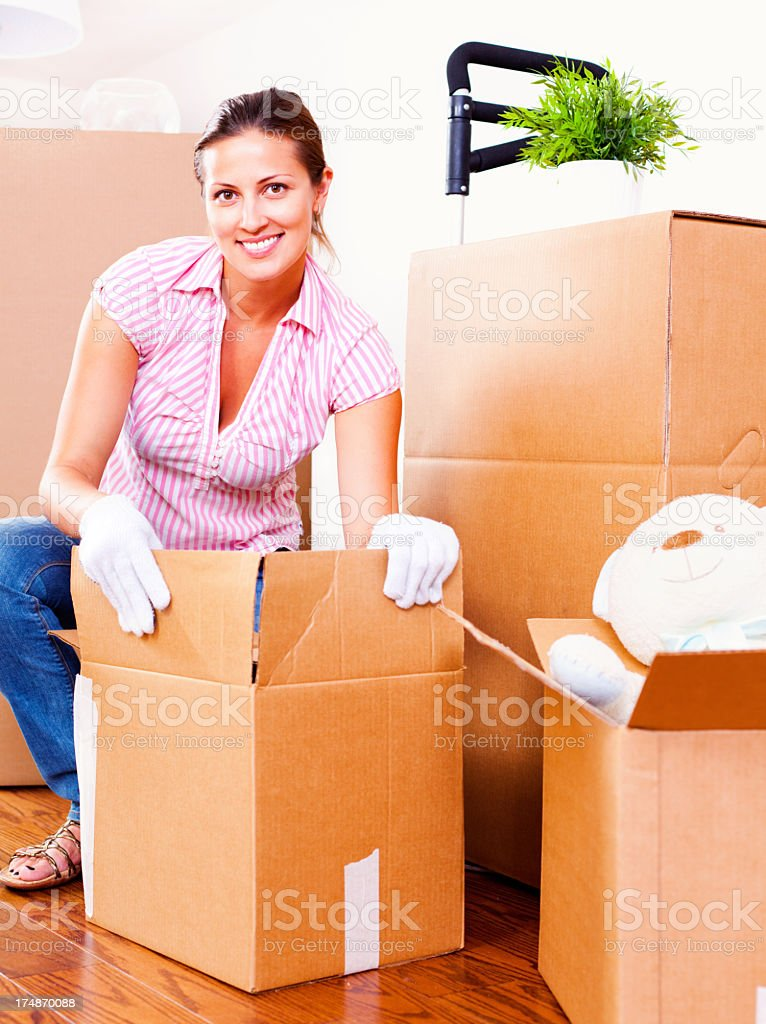 Packing during a move royalty-free stock photo