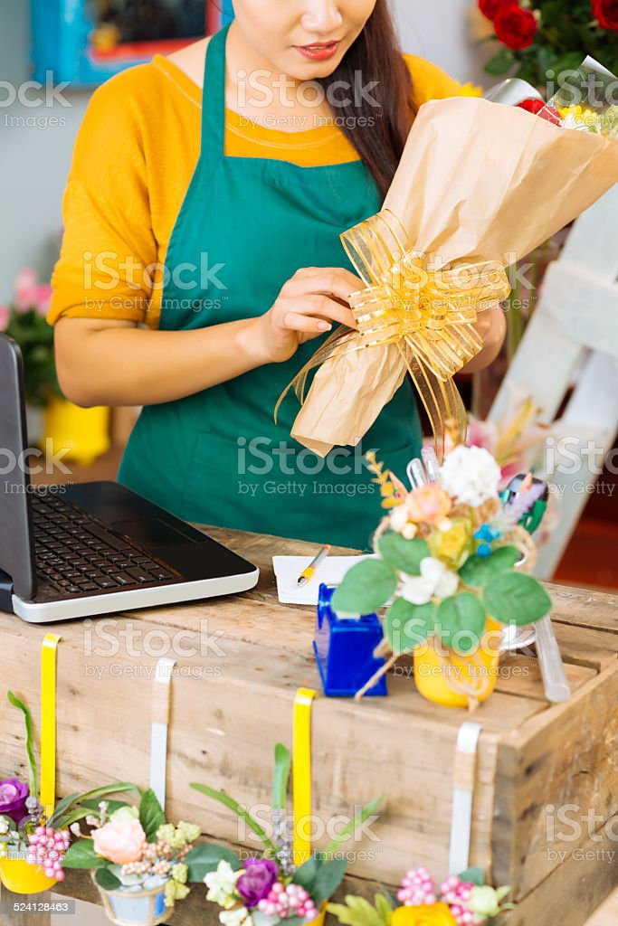 Packing flowers stock photo