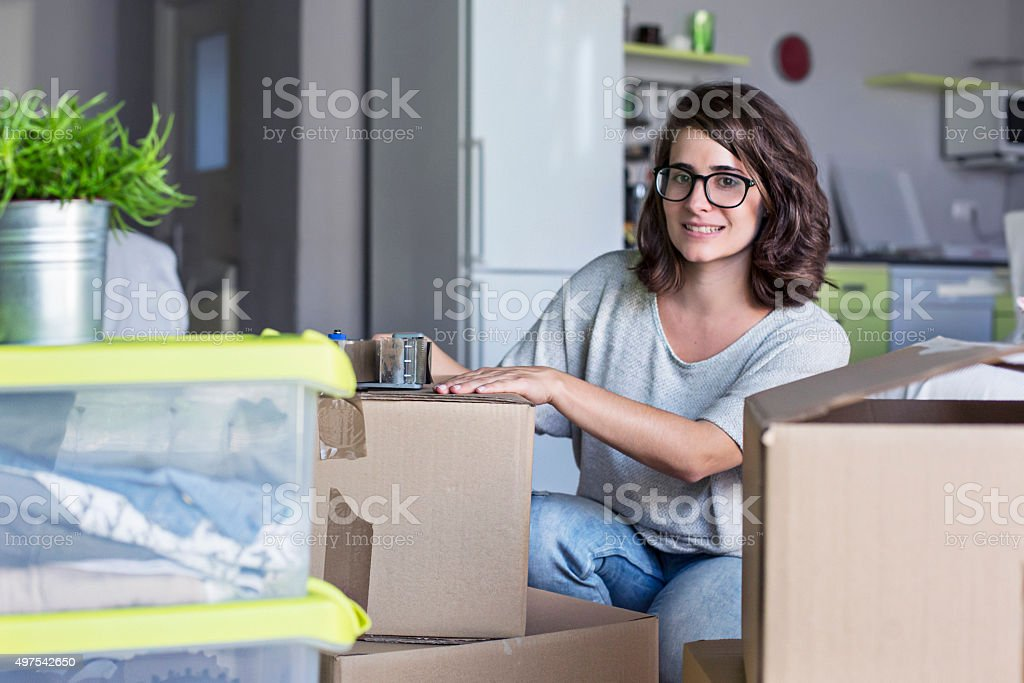 Packing for the new adventure stock photo