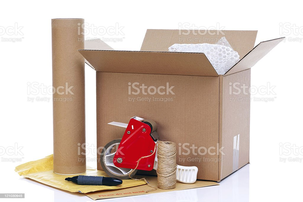 Packing items stock photo