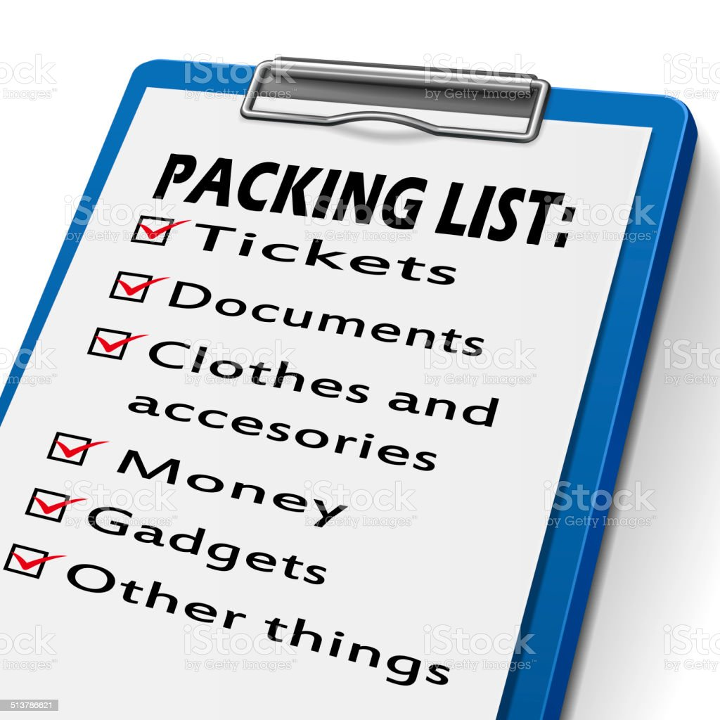 packing list clipboard stock photo