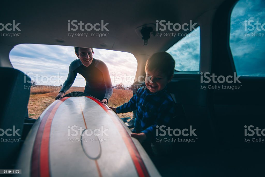 Packing our surfboards stock photo