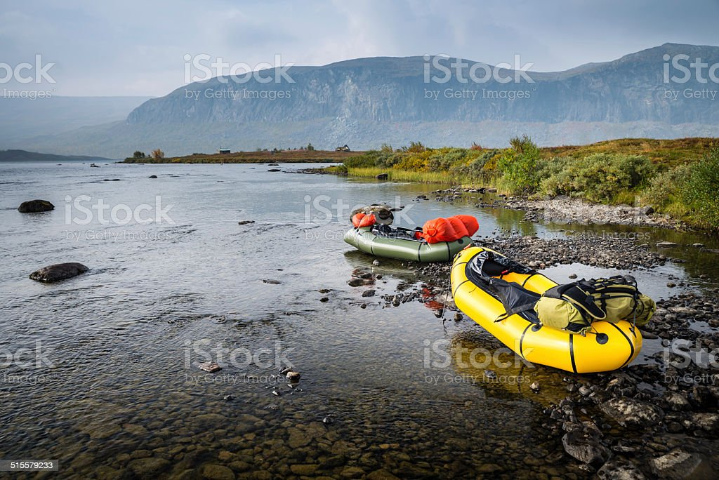Packrafts In Wilderness stock photo
