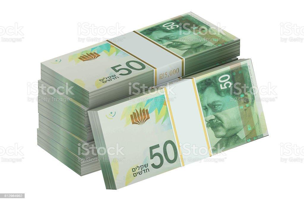 packs of israeli shekel stock photo