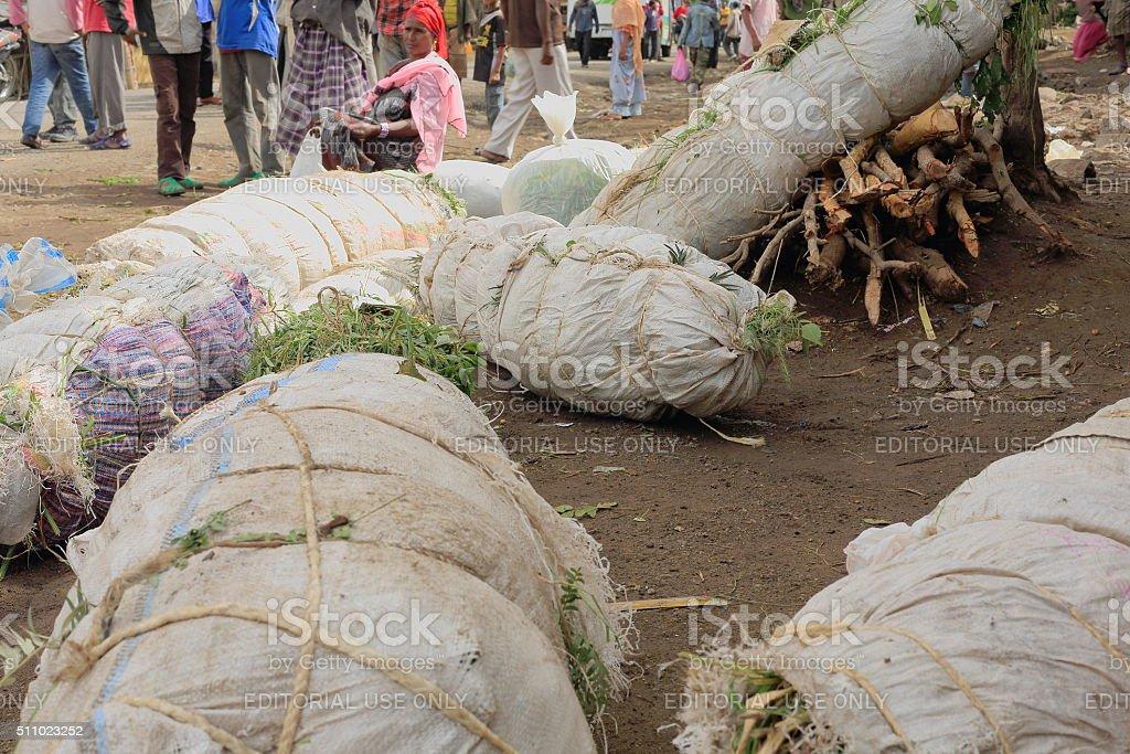Packs of khat leaves-local market. Degan town-Ethiopia. 0103 stock photo