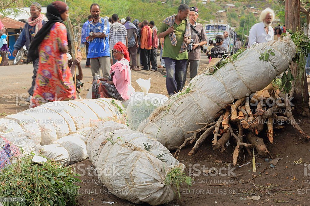 Packs of khat leaves-local people and market. Degan town-Ethiopia. 0104 stock photo