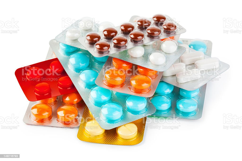 Packs of pills royalty-free stock photo