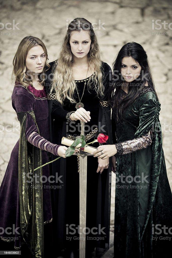 Pact between three fairies stock photo