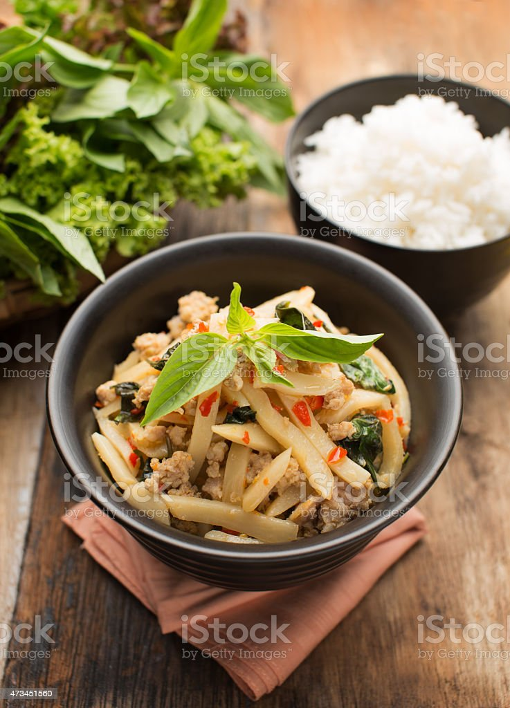 Pad Nor Mai (Thai food) stock photo