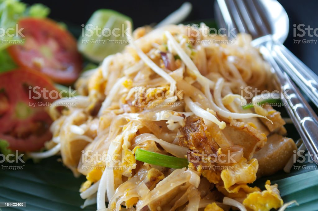 Pad Thai Fresh Mouthwatering Close-Up royalty-free stock photo