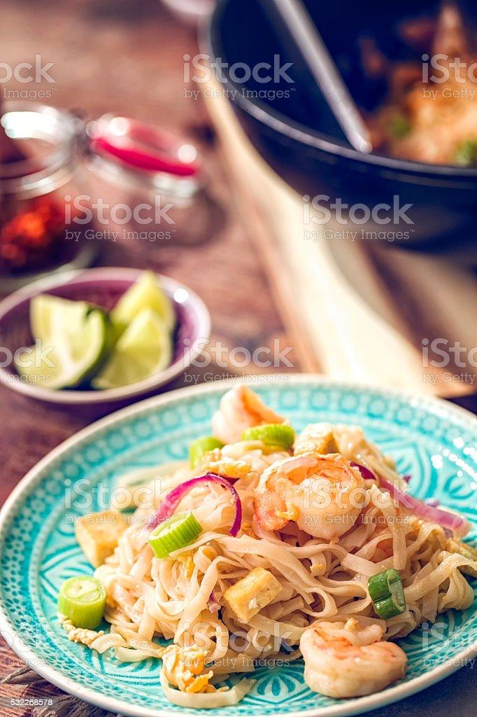 Pad Thai Noodles with Prawns stock photo