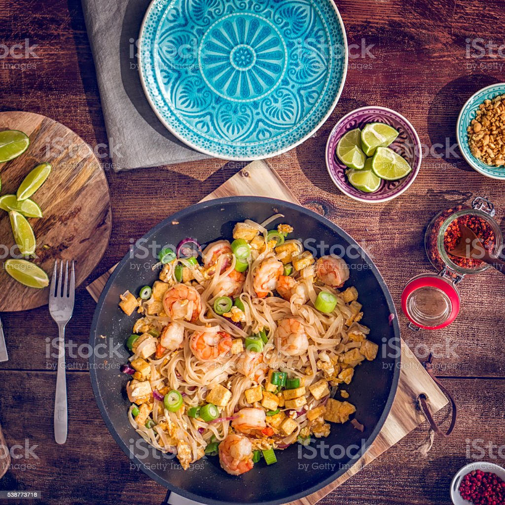 Pad Thai Noodles with Prawns stock photo