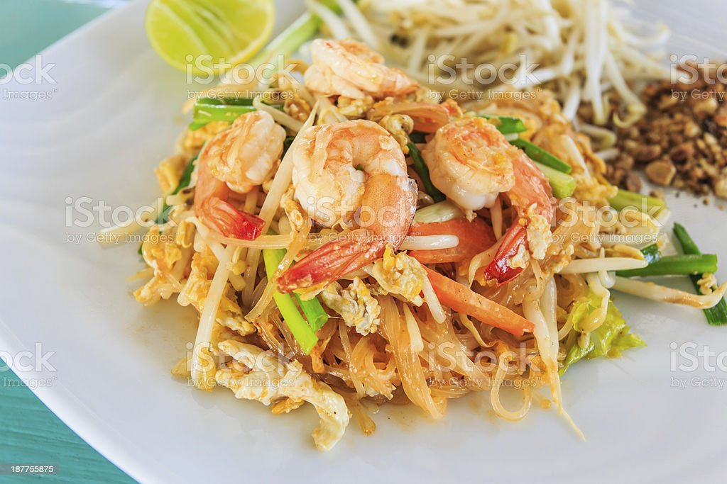 Pad Thai or Fried Rice Sticks with Shrimp royalty-free stock photo
