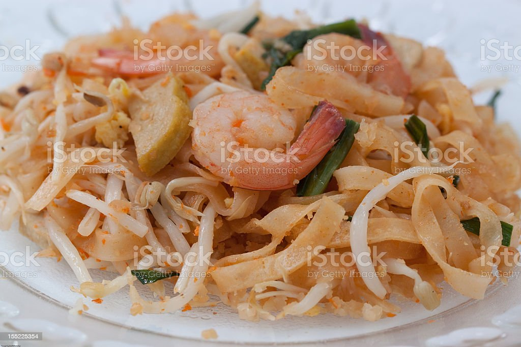 Pad Thai, stir fried rice noodle  with shrimp royalty-free stock photo