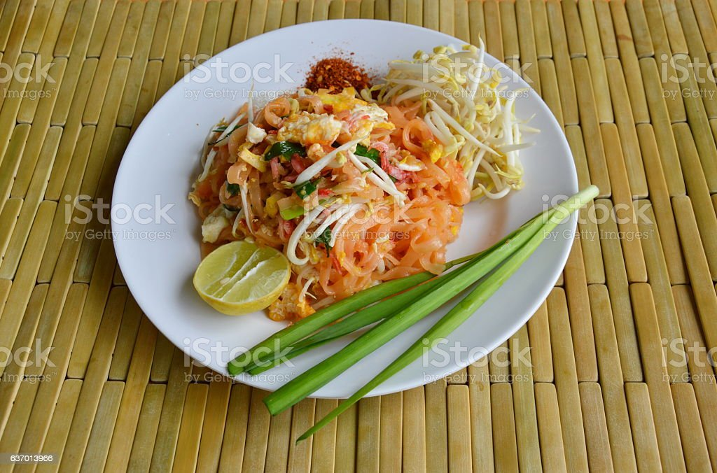 Pad Thai stir fried thin noodle with egg and vegetable stock photo
