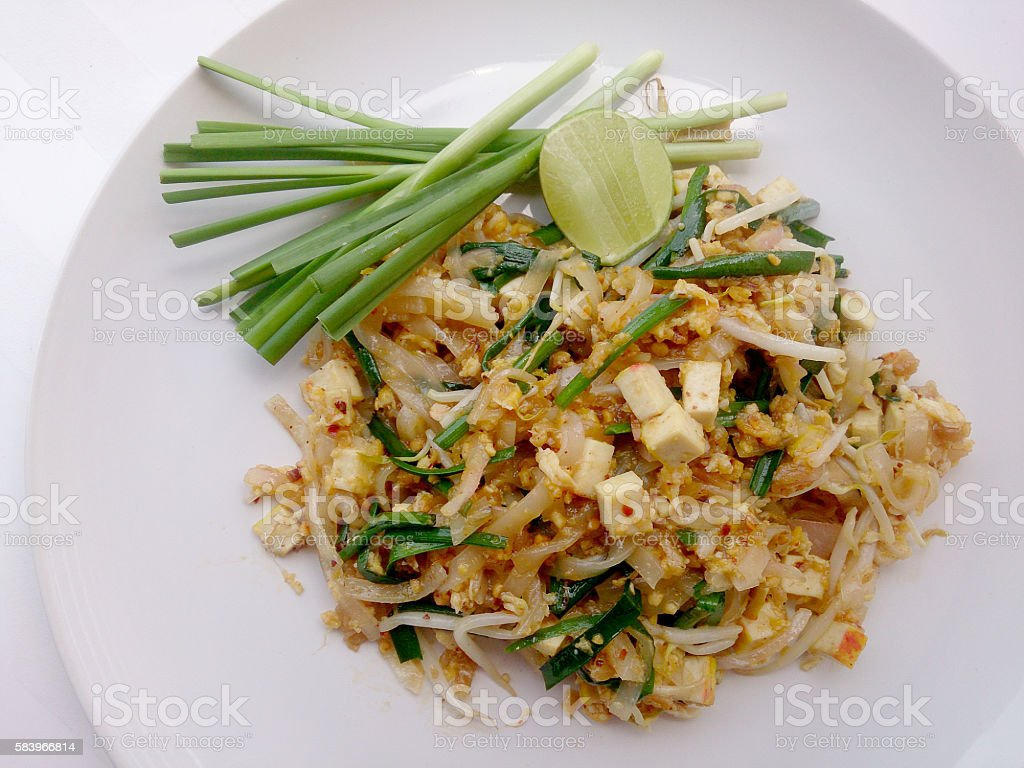 Pad Thai, stir-fried rice noodles with tofu. Vegetarian Food, stock photo