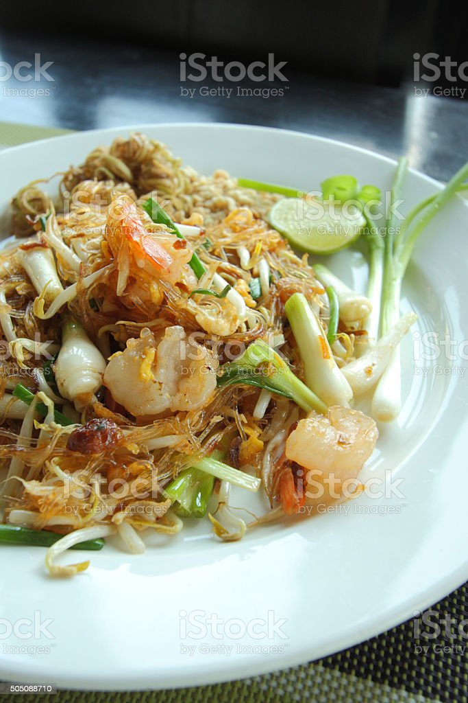 Pad Thai, Thailand's national dishes, stir-fried rice noodles, T stock photo