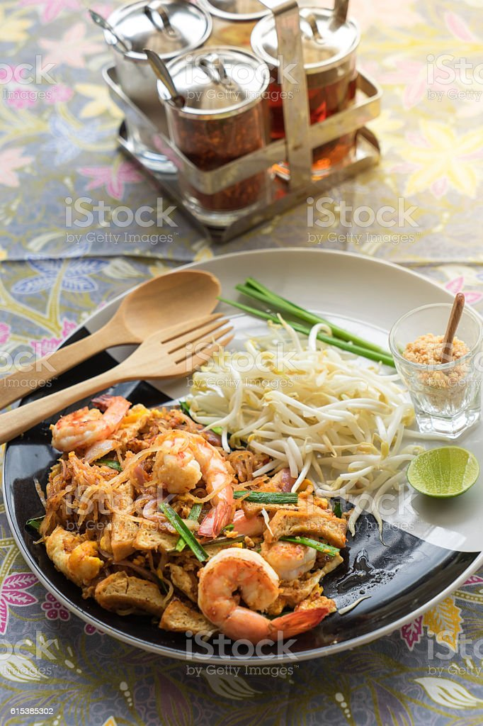 Pad Thai, Traditional Thai fried noodle stock photo