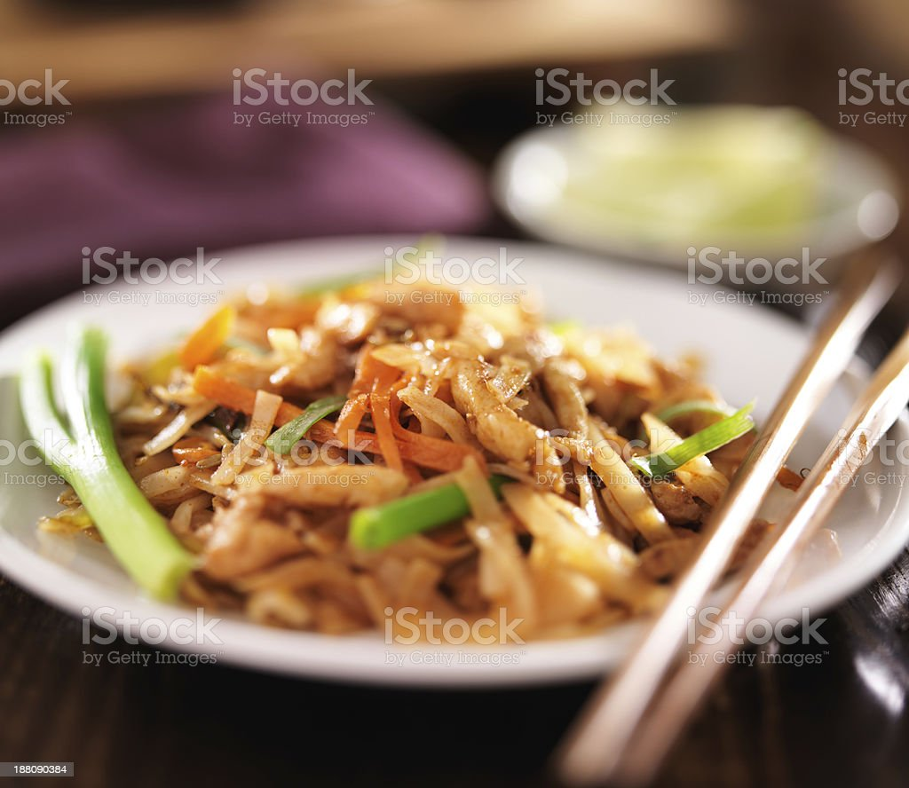 pad thai with chicken dish stock photo