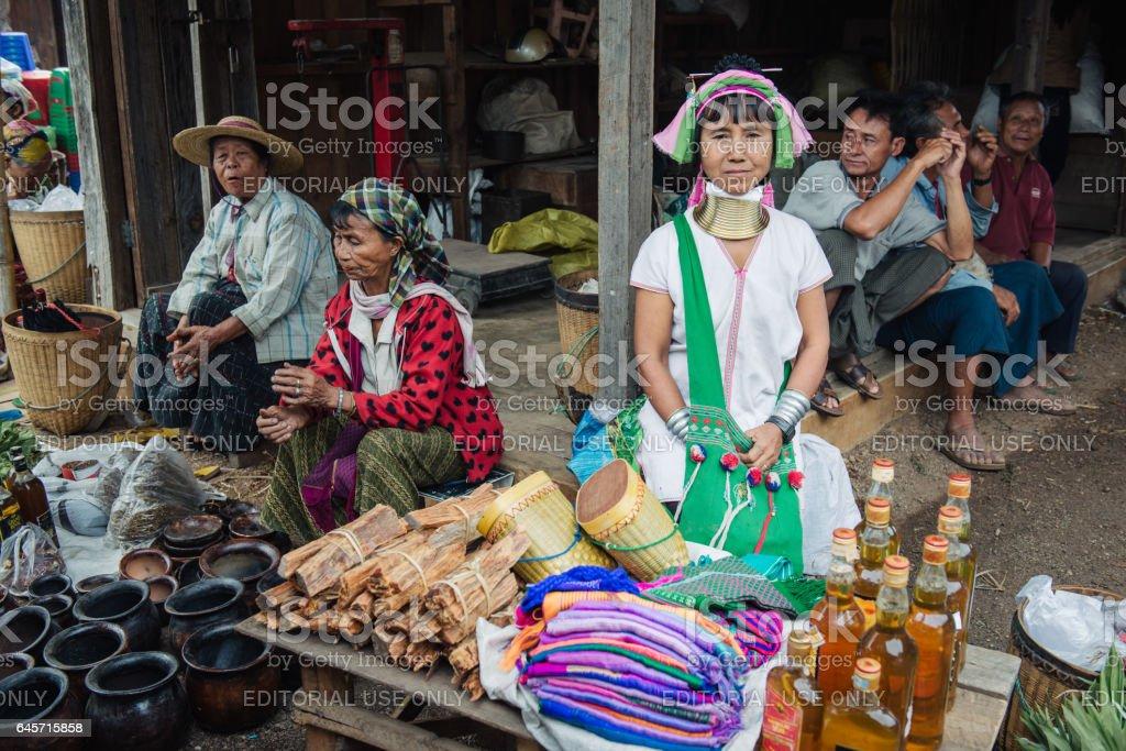 Padaung (Karen) long neck woman from Loikaw stock photo