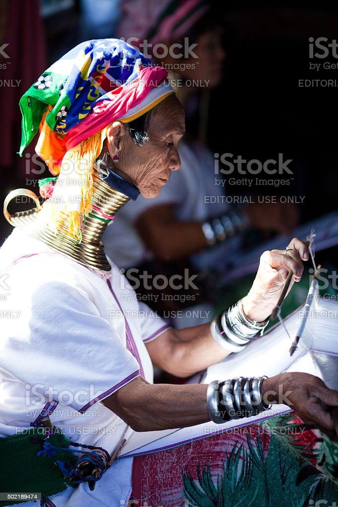 Padaung tribal woman, Myanmar stock photo