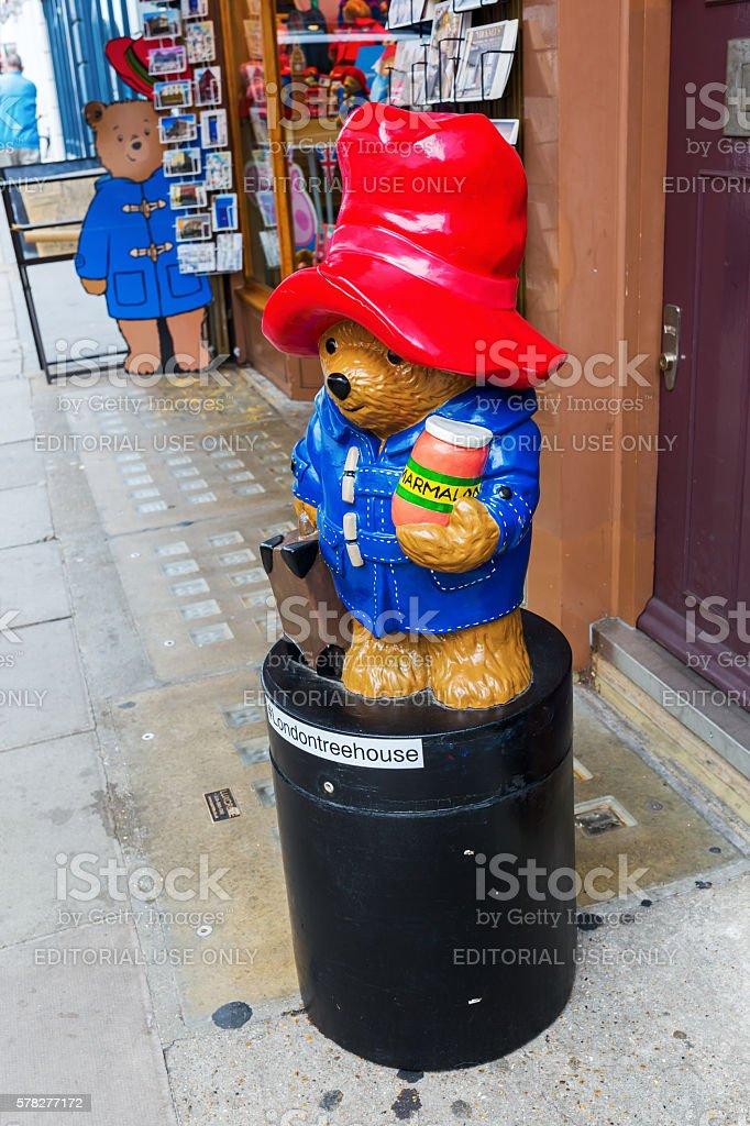 Paddington Bear sculpture in London, UK stock photo