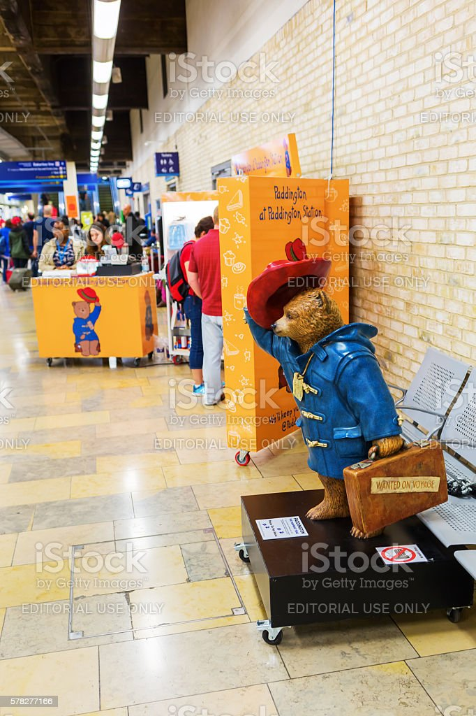 Paddington Bear stall at Paddington station in London, UK stock photo