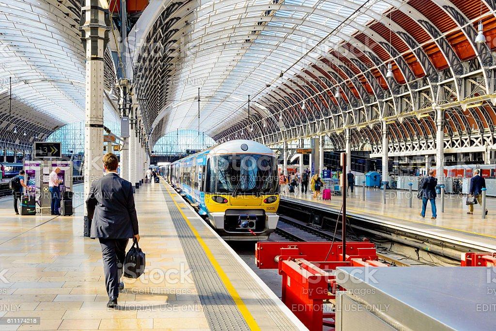 Paddington station platform stock photo