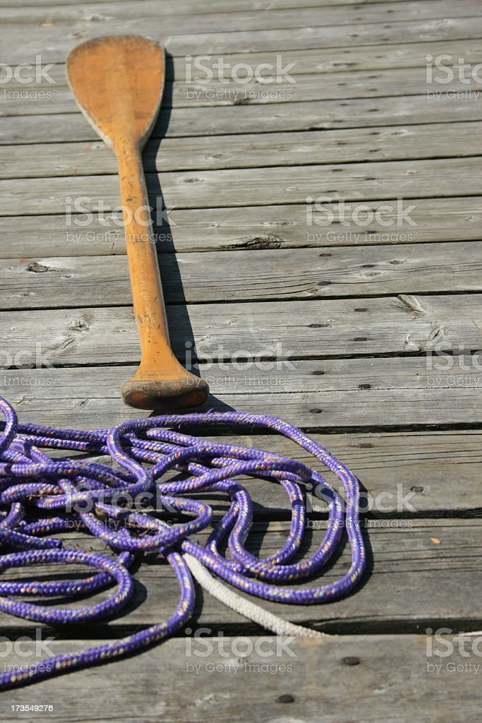 Paddle and rope royalty-free stock photo