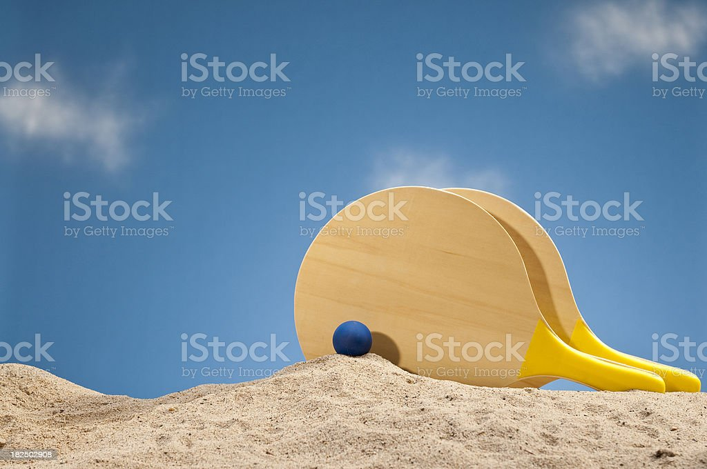 Paddle Ball Set At The Beach stock photo