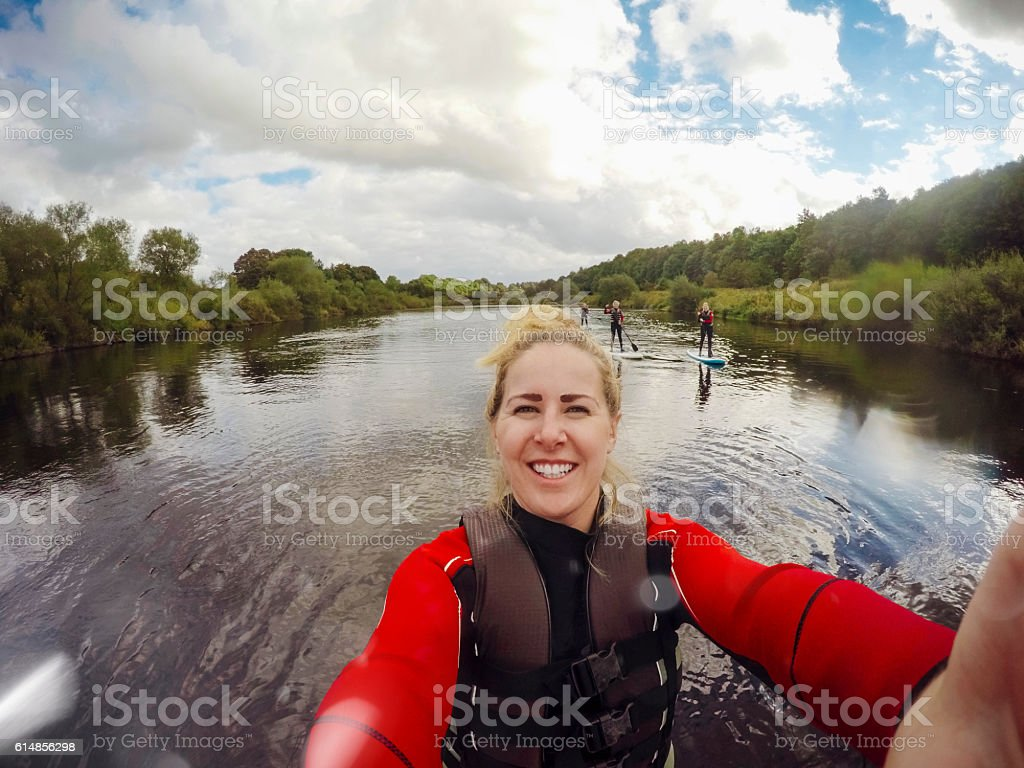 Paddle Board Selfie stock photo