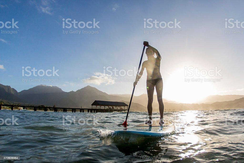 Paddle Boarding in Hawaii stock photo