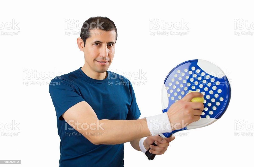 paddle player on white background stock photo