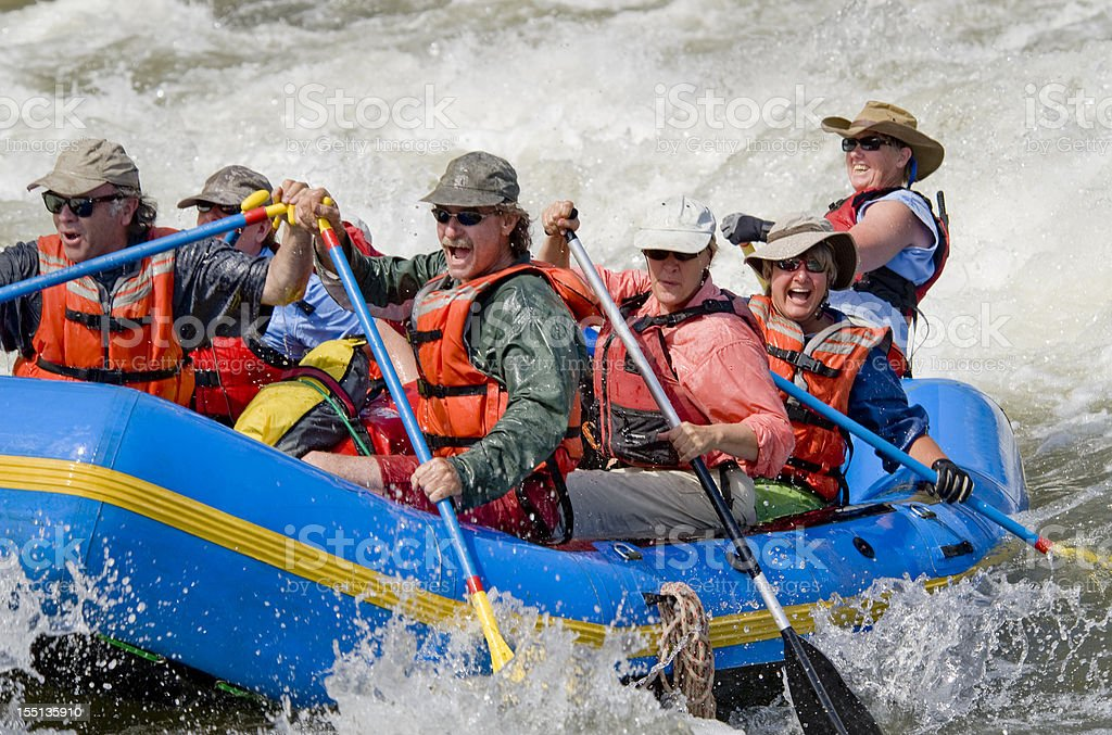 Paddle Raft, Grande Ronde River, Oregon. stock photo