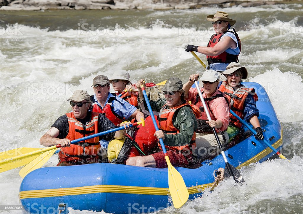 Paddle rafting on the Grande Ronde River in Oregon stock photo