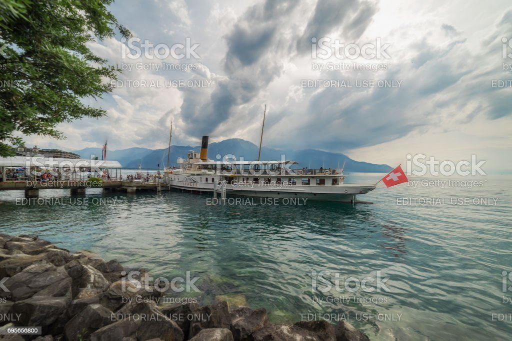 Paddle Steamer at Montreux in Switzerland stock photo