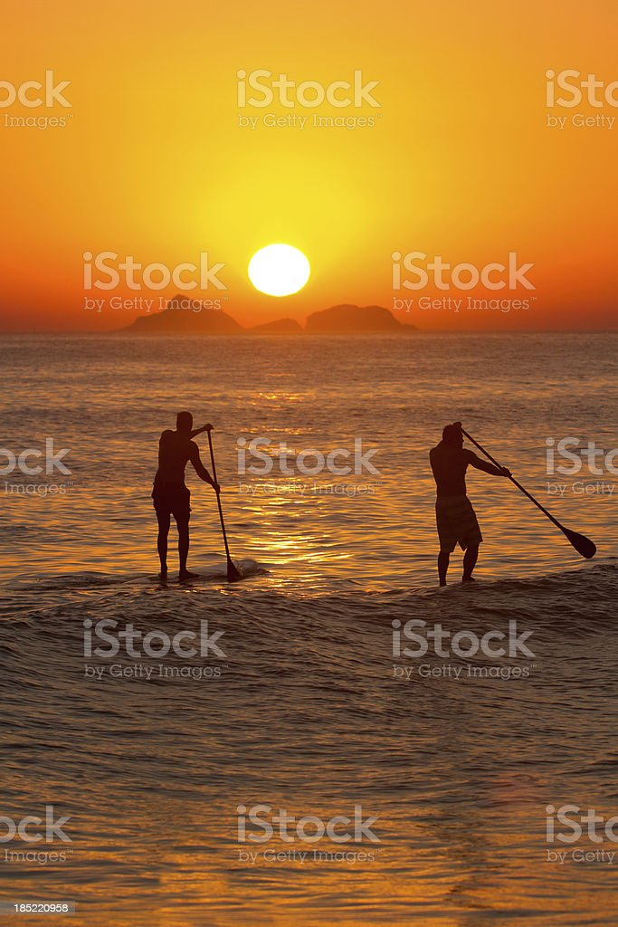 Paddle Surf at Sunset royalty-free stock photo