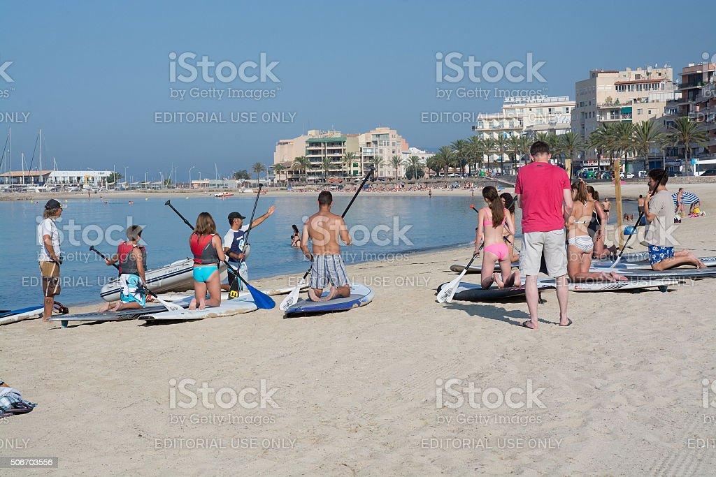 Paddle surf school stock photo