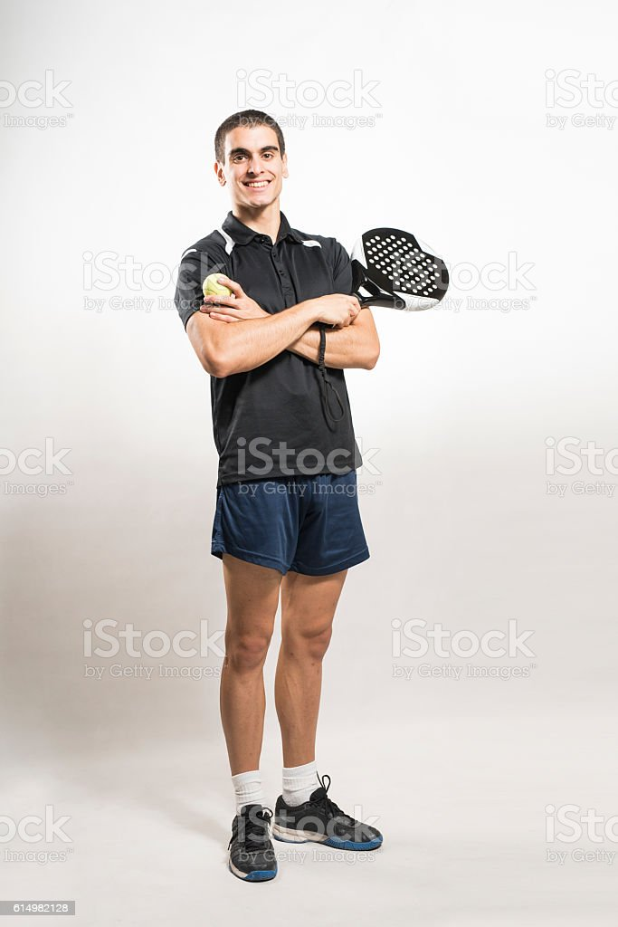 Paddle tennis player on white background stock photo