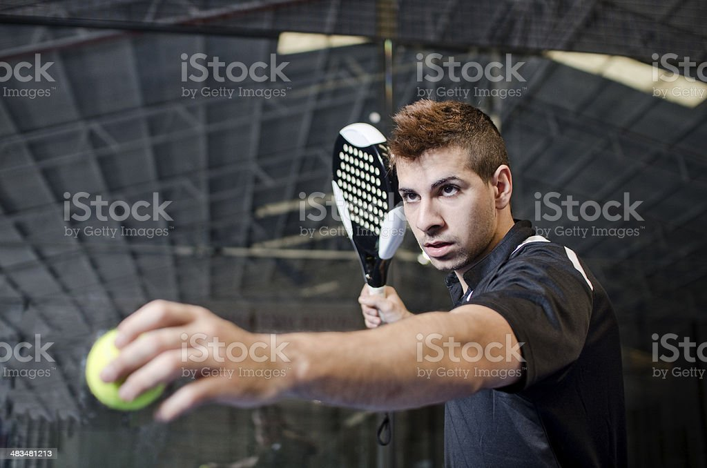 Paddle tennis player stock photo