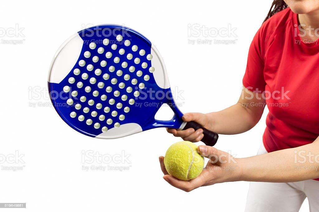 paddle tennis service stock photo