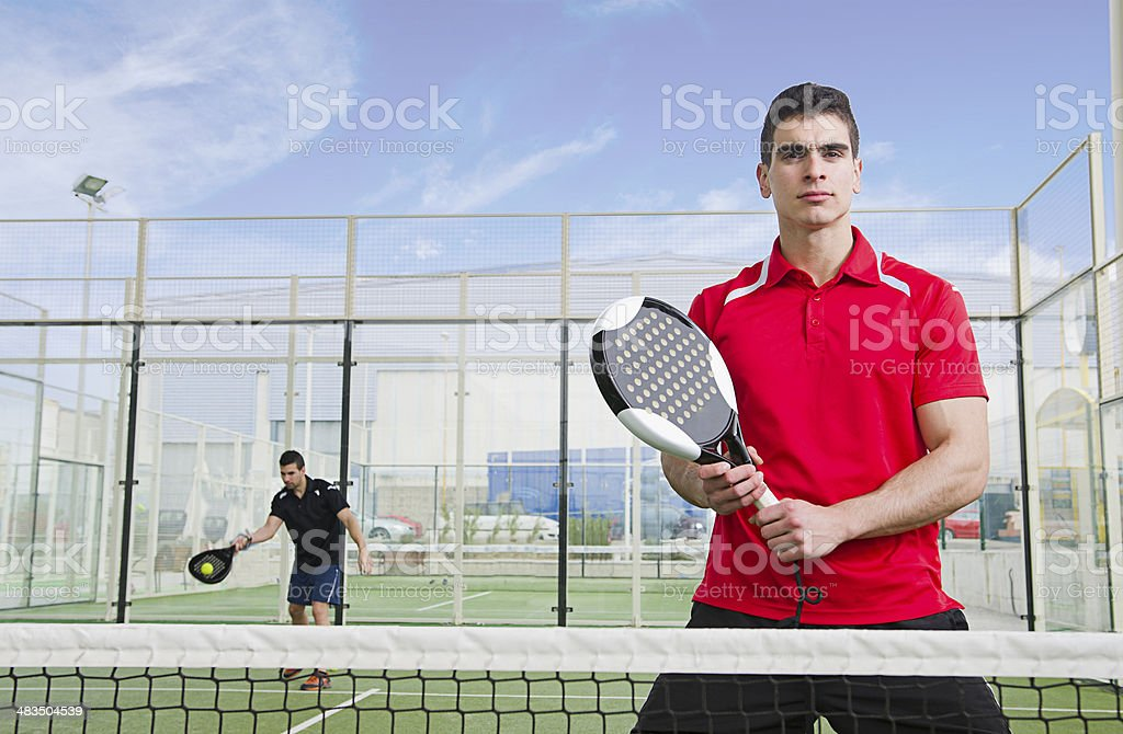 Paddle tnnis player ready for match stock photo