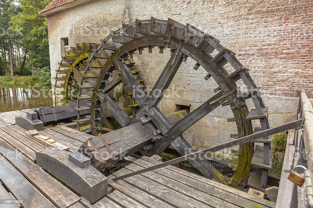 Paddle wheels at a watermill stock photo