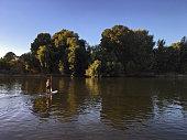 Paddleboarding on River Thames near Richmond, UK