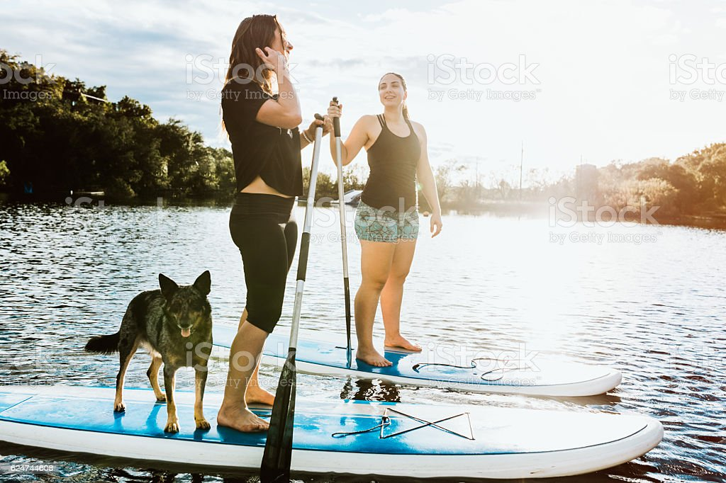 Paddleboarding Women With Dog stock photo