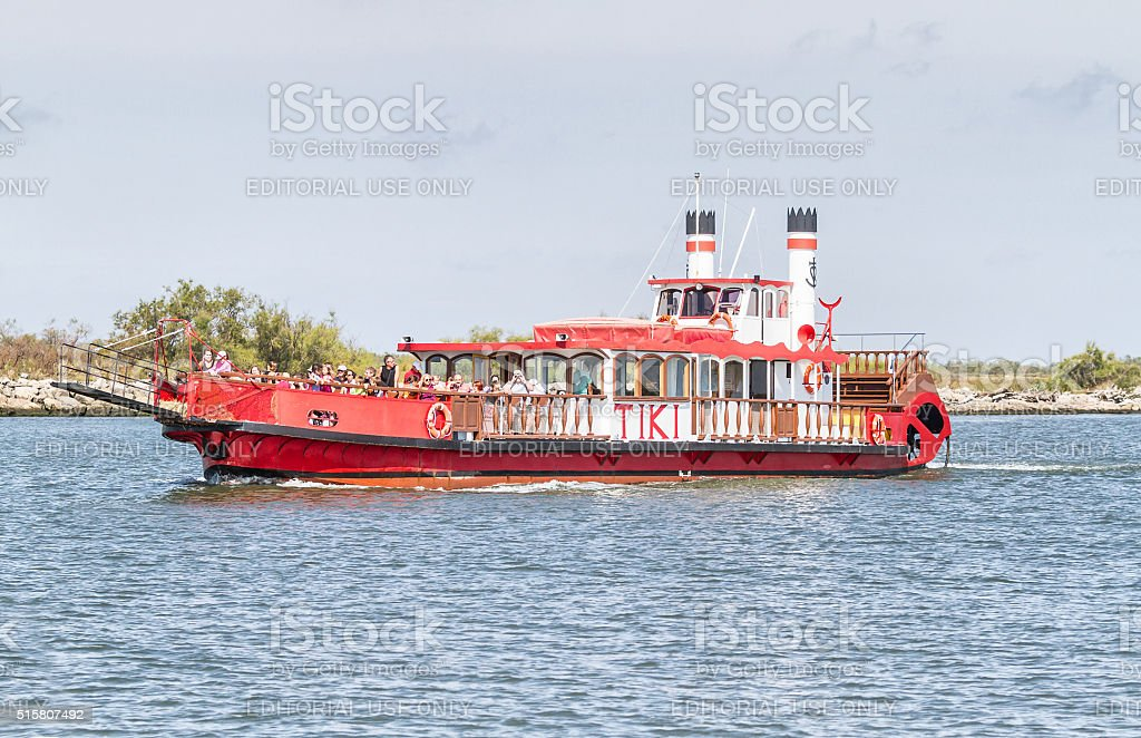 Paddleboat on Rhone River in Camargue - France stock photo